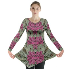 The Last Peacock In Metal Long Sleeve Tunic