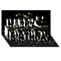 Little White And Green Dots Happy Birthday 3d Greeting Card (8x4)