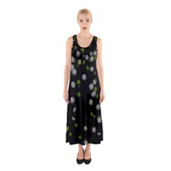 Little white and Green Dots Full Print Maxi Dress