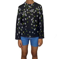 Little white and Green Dots Kid s Long Sleeve Swimwear