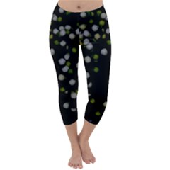 Little White And Green Dots Capri Winter Leggings