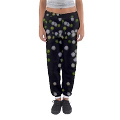 Little white and Green Dots Women s Jogger Sweatpants