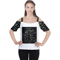Little White And Green Dots Women s Cutout Shoulder Tee
