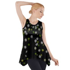 Little white and Green Dots Side Drop Tank Tunic