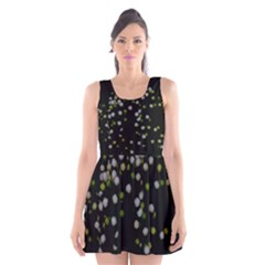 Little white and Green Dots Scoop Neck Skater Dress