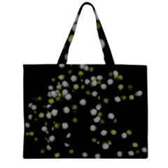 Little white and Green Dots Large Tote Bag