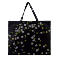 Little white and Green Dots Zipper Large Tote Bag