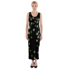 Little white and Green Dots Fitted Maxi Dress