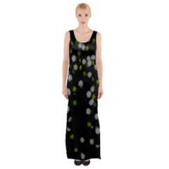 Little white and Green Dots Maxi Thigh Split Dress