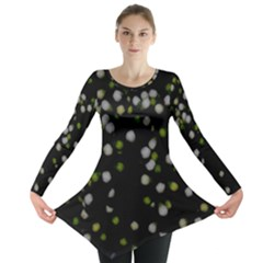 Little White And Green Dots Long Sleeve Tunic