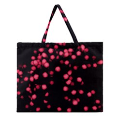 Little Pink Dots Zipper Large Tote Bag