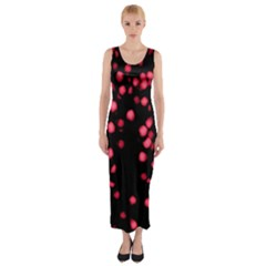 Little Pink Dots Fitted Maxi Dress