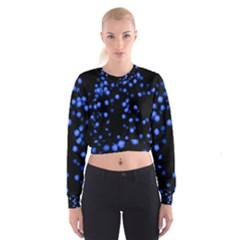 Little Blue Dots Women s Cropped Sweatshirt