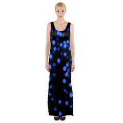 Little Blue Dots Maxi Thigh Split Dress