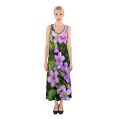 Little Purple Flowers Full Print Maxi Dress