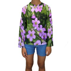 Little Purple Flowers Kid s Long Sleeve Swimwear