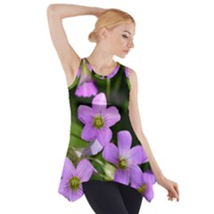 Little Purple Flowers Side Drop Tank Tunic