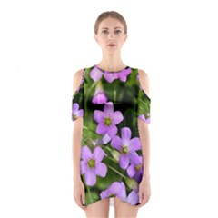 Little Purple Flowers Cutout Shoulder Dress