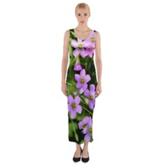 Little Purple Flowers Fitted Maxi Dress