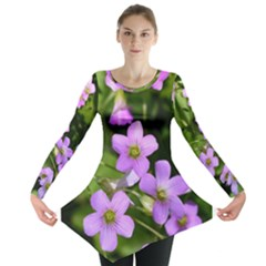 Little Purple Flowers Long Sleeve Tunic