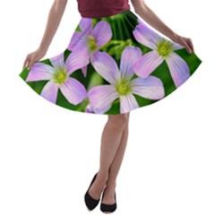 Little Purple Flowers 2 A Line Skater Skirt