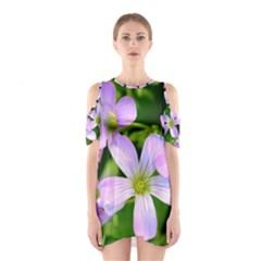 Little Purple Flowers 2 Cutout Shoulder Dress