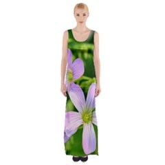 Little Purple Flowers 2 Maxi Thigh Split Dress
