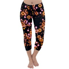 Little Peach and Pink Flowers Capri Winter Leggings