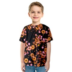 Little Peach and Pink Flowers Kid s Sport Mesh Tee