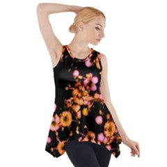 Little Peach And Pink Flowers Side Drop Tank Tunic