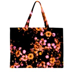 Little Peach and Pink Flowers Large Tote Bag