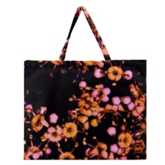 Little Peach And Pink Flowers Zipper Large Tote Bag