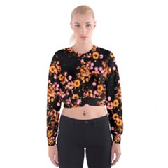 Little Peach and Pink Flowers Women s Cropped Sweatshirt