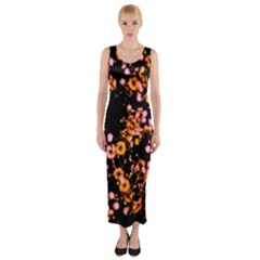 Little Peach and Pink Flowers Fitted Maxi Dress