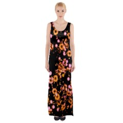 Little Peach and Pink Flowers Maxi Thigh Split Dress