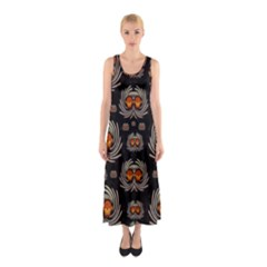 Seeds Decorative With Flowers Elegante Full Print Maxi Dress