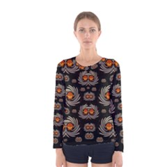 Seeds Decorative With Flowers Elegante Women s Long Sleeve Tee