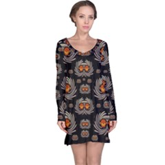 Seeds Decorative With Flowers Elegante Long Sleeve Nightdress