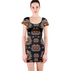 Seeds Decorative With Flowers Elegante Short Sleeve Bodycon Dress