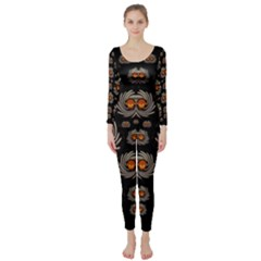Seeds Decorative With Flowers Elegante Long Sleeve Catsuit