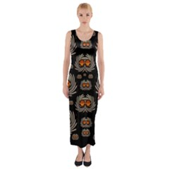 Seeds Decorative With Flowers Elegante Fitted Maxi Dress