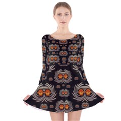 Seeds Decorative With Flowers Elegante Long Sleeve Velvet Skater Dress