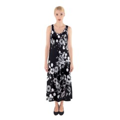 Little Black and White Flowers Full Print Maxi Dress