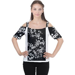 Little Black and White Flowers Women s Cutout Shoulder Tee