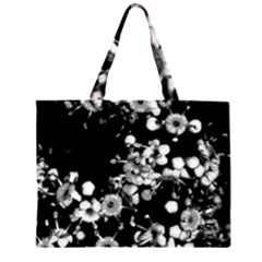 Little Black and White Flowers Large Tote Bag
