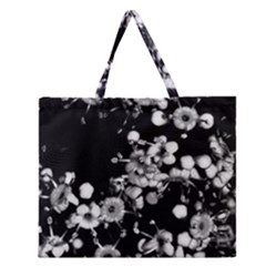 Little Black and White Flowers Zipper Large Tote Bag
