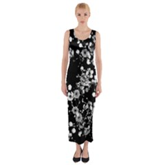 Little Black And White Flowers Fitted Maxi Dress