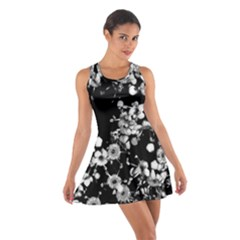 Little Black and White Flowers Racerback Dresses