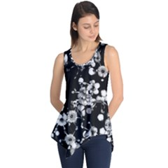 Little Black and White Flowers Sleeveless Tunic