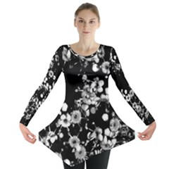 Little Black and White Flowers Long Sleeve Tunic